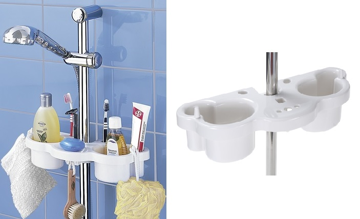 Porta oggetti per doccia in plastica marca wenko pianeta - Porta bagnoschiuma doccia ...